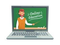Онлайн образование учителя Профессор учит на классн классном школы на экране компьтер-книжки Удаленный уча вектор тренировки Стоковое фото RF