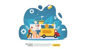 Онлайн обслуживание доставки концепция заказа срочная отслеживая с крошечной тележкой коробки характера и груза шаблон для страни иллюстрация вектора