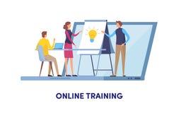 Онлайн обучение, образовательный центр, онлайн курс, тренировка, тренируя, семинар Векторная графика иллюстрации шаржа миниатюрна иллюстрация вектора