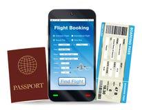 Онлайн пасспорт резервирования и посадочного талона полета Стоковые Изображения