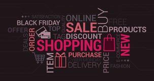 Онлайн покупки и розничное облако бирки Стоковые Изображения RF