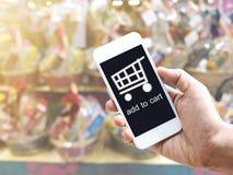 Онлайн покупки и электронная коммерция на концепции интернета Стоковая Фотография RF