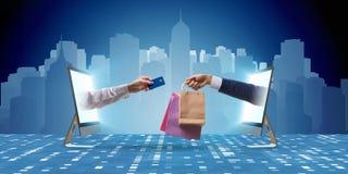 Онлайн покупки через покупать от интернета стоковые фотографии rf