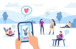 Онлайн приобретение Магазин интернета, передаточный платеж безопасностью смартфона и иллюстрация вектора оплаты сети ходя по мага иллюстрация вектора