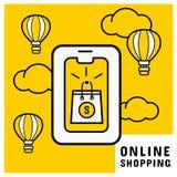Онлайн приобретение на черни с онлайн хозяйственной сумкой E иллюстрация вектора