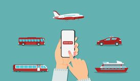 Онлайн резервирование перехода: самолет, такси, поезд, вкладыш, автобус иллюстрация штока