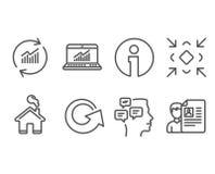 Онлайн статистик, сообщения и уменьшают значки Данные по обновления, знаки перезарядки и собеседования для приема на работу иллюстрация штока