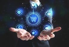 Онлайн тема покупок с бизнесменом иллюстрация штока