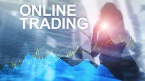 Онлайн торговая операция, концепция валют, вклада и финансового рынка иллюстрация штока