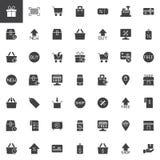 Онлайн установленные значки вектора покупок иллюстрация штока