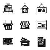 Онлайн установленные значки, простой стиль приобретения иллюстрация вектора