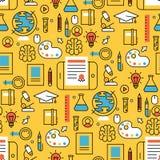 Онлайн уча магазин тренировки предпосылки картины плоского образования дизайна дистантного безшовный уча знание исследования Стоковое фото RF