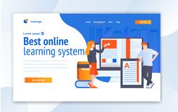 Онлайн уча творческий дизайн шаблона вебсайта - вектор иллюстрация вектора