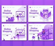 Онлайн ходя по магазинам набор иллюстрация вектора