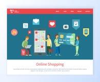 Онлайн ходя по магазинам приобретение продукта на сети вебсайта бесплатная иллюстрация