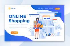 Онлайн ходя по магазинам шаблон дизайна страницы посадки вебсайта электронной коммерции - вектор иллюстрация штока