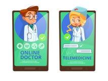 Онлайн шарж вектора телемедицины доктора иллюстрация штока
