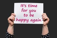 Оно время ` s для вас быть счастливый снова стоковое изображение rf