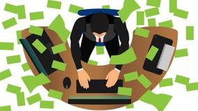 Оно идет дождь банкноты работы бизнесмена бесплатная иллюстрация