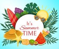 Оно иллюстрация вектора знамени лета s Пальма выходит с плодом как виноградины, кивиом, кусками апельсина иллюстрация вектора