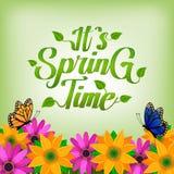 Оно предпосылка времени весны ` s с цветками и бабочкой бесплатная иллюстрация