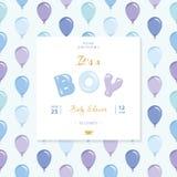 Оно s мальчик Шаблон детского душа Включенная безшовная картина с голубыми и фиолетовыми воздушными шарами Стоковое фото RF
