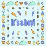 Оно ` s открытка мальчика с милой рамкой иллюстрация штока