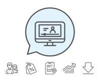 Онлайн видео- линия значок образования Знак тетради иллюстрация штока