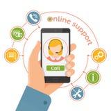 Онлайн вспомогательное обслуживание Концепция центра телефонного обслуживания службы технической поддержки Стоковое Изображение