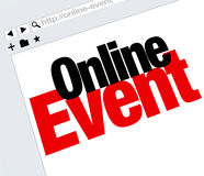 Онлайн выставка встречи цифров интернета слов вебсайта события Стоковое Фото