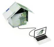 Онлайн евро недвижимости Стоковое Изображение