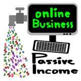 Онлайн дело, пассивный доход, исходящая наличность Стоковые Изображения