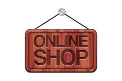 Онлайн знак магазина - деревянный знак Стоковое фото RF