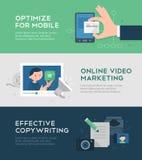Онлайн знамена маркетинга и преобразования иллюстрация вектора