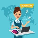 Онлайн знамя резервирования Онлайн резервирование полета Агент по путешествиям стоит на таблице и делает вне приобретение билетов бесплатная иллюстрация