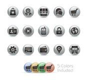 Онлайн значки магазина -- Серия металла круглая Стоковые Фото