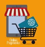 Онлайн значки оплат Стоковое Изображение