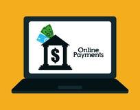 Онлайн значки оплат Стоковое Фото