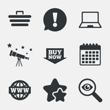 Онлайн значки покупок ПК тетради, тележка, покупка Стоковые Фото