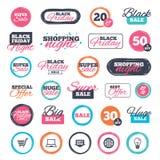 Онлайн значки покупок ПК тетради, тележка, покупка Стоковое Изображение