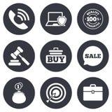 Онлайн значки покупок, электронной коммерции и дела бесплатная иллюстрация