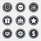 Онлайн значки покупок, электронной коммерции и дела иллюстрация штока