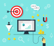 Онлайн значки bisiness и рекламы интернета концепции маркетинга - иллюстрация Стоковое Фото