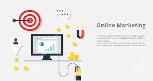 Онлайн значки bisiness и рекламы интернета концепции маркетинга - иллюстрация Стоковые Изображения