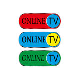 Онлайн значок ТВ Стоковая Фотография RF