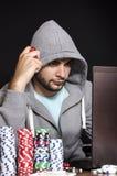 Онлайн игрок в покер Стоковое Изображение