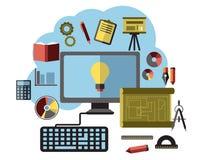 Онлайн идеи, воодушевленность и исследование плоские Стоковое Изображение