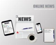 Онлайн иллюстрация вектора новостей кофе чашки Стоковая Фотография RF