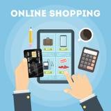 Онлайн иллюстрация покупок иллюстрация вектора