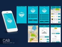 Онлайн кабина передвижной App UI, экраны UX и GUI Стоковые Изображения